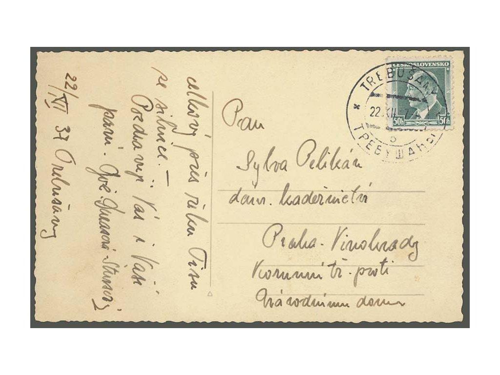 Trebušany, 1937, pohlednice zaslaná do Prahy