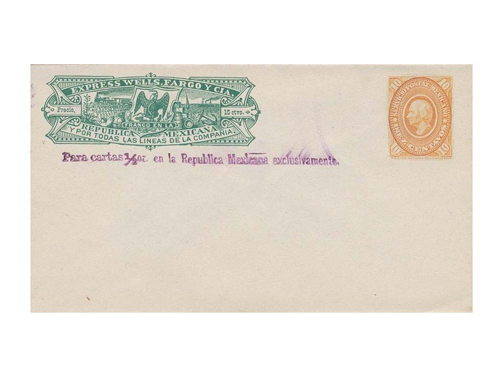 Mexiko, 1890, Express Wells, Fargo, celinová obálka 10C