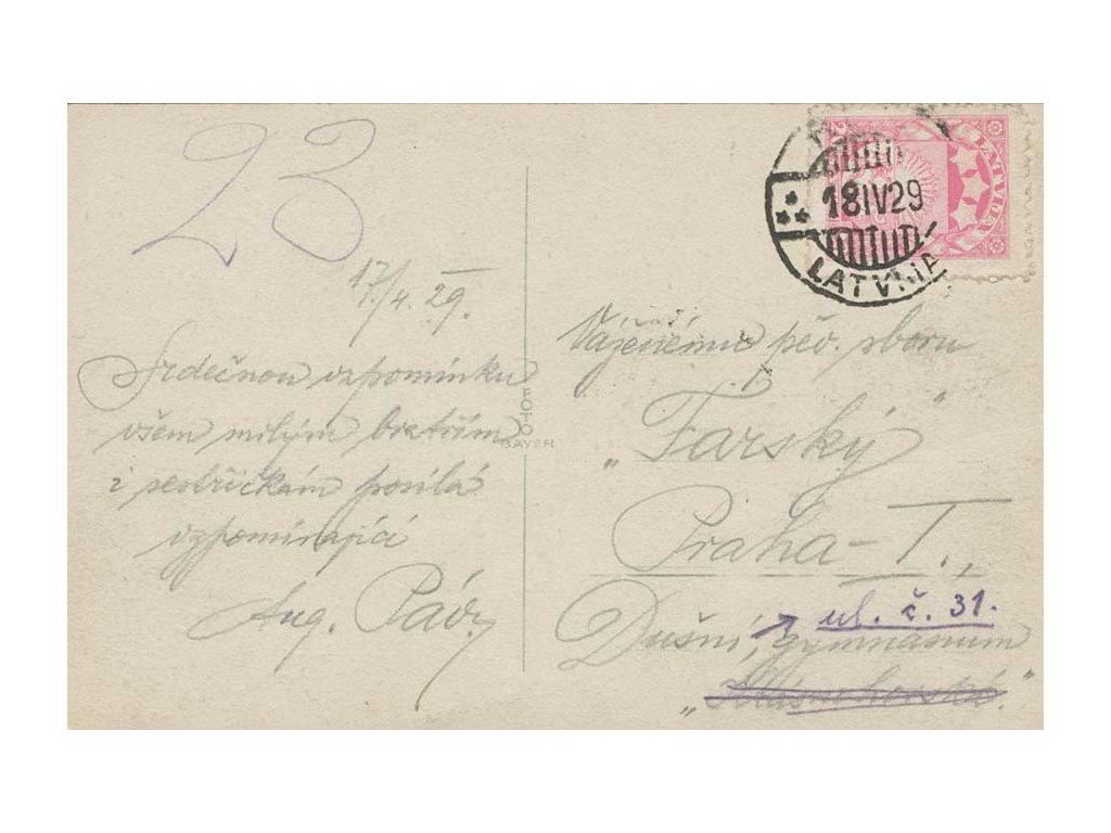 Latvija, 1929, DR Riga, pohlednice vyfr. zn. 20S