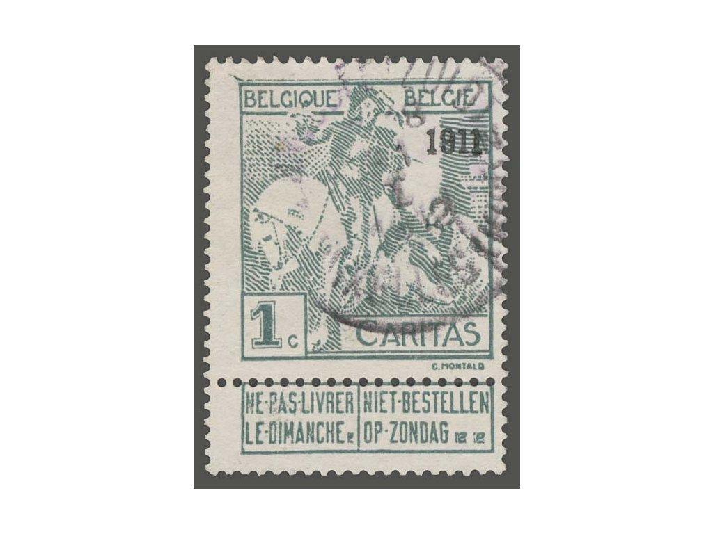 1911, 1C šedá s přetiskem 1911, MiNr.81II, razítkované