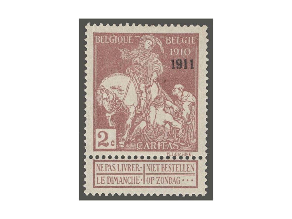 1911, 2C hnědá s přetiskem 1911, MiNr.86II, * po nálepce