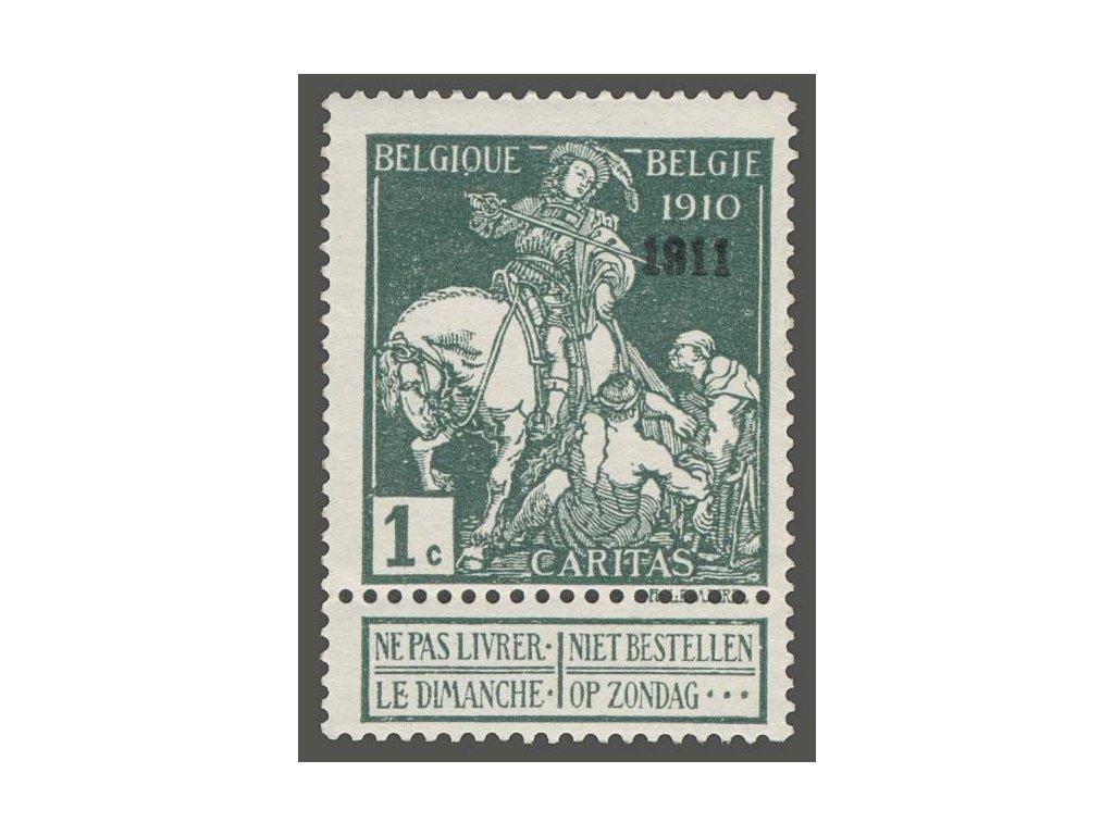 1911, 1C černozelená s přetiskem 1911, * po nálepce