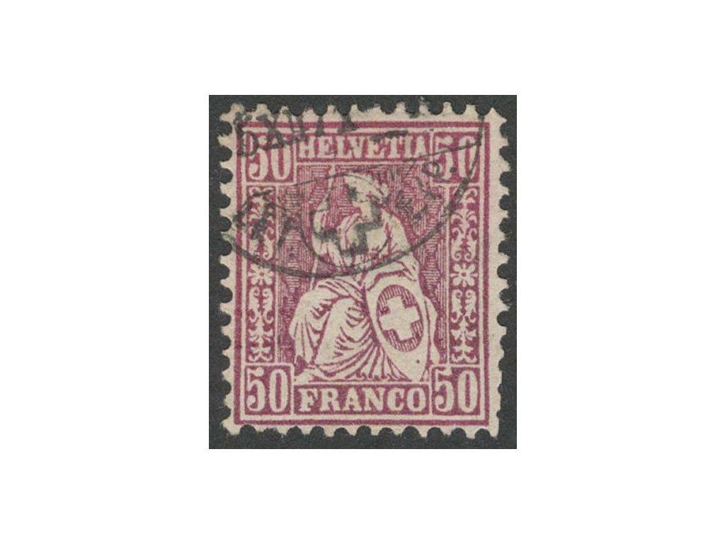 1867, 50 C Helvetia, MiNr.35, razítkované