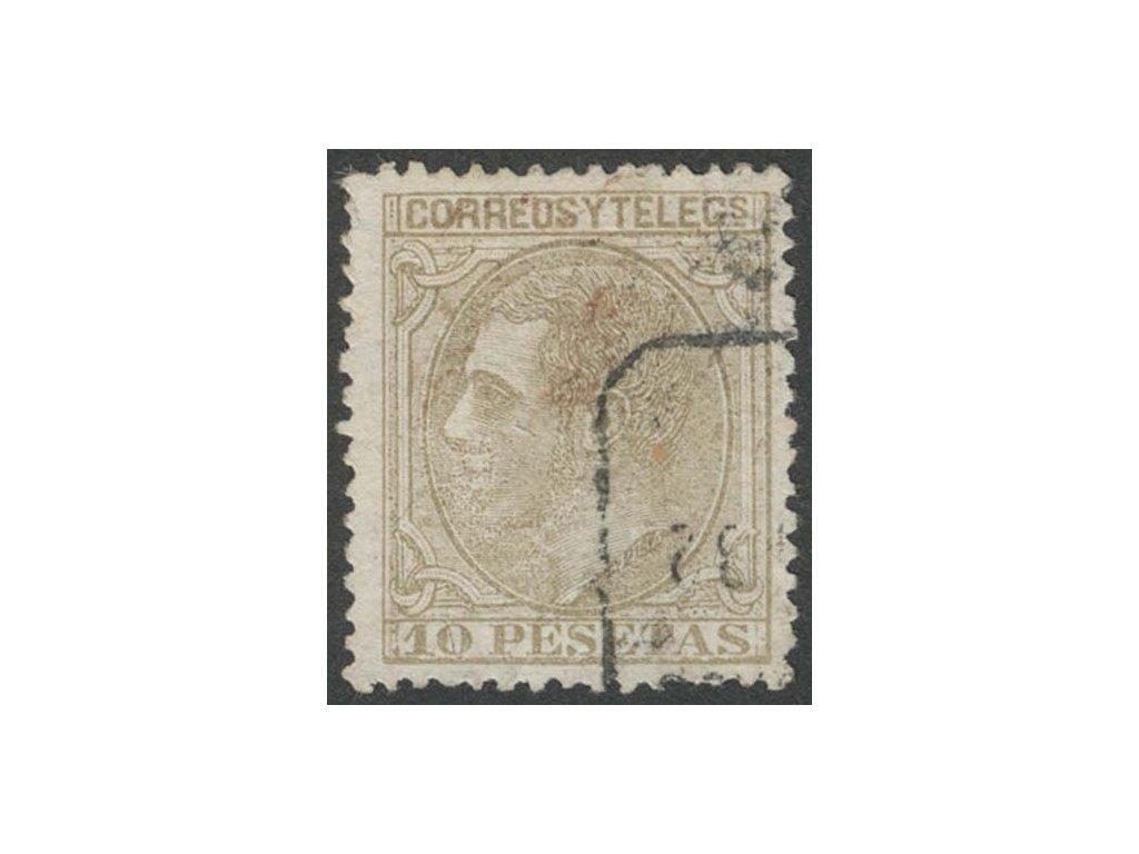 1879, 10Pta Alfons, MiNr.185, razítkované, lehce zeslabeno