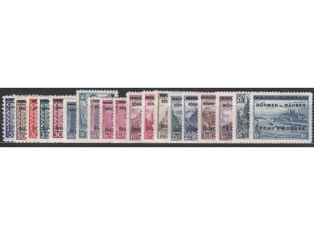 1939, 5h-10Kč přetisková série, Nr.1-19, * po nálepce