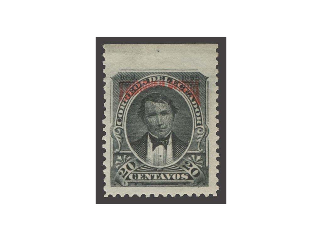 Ecuador, 1895, 20 C služební, chybějící,  těžká *