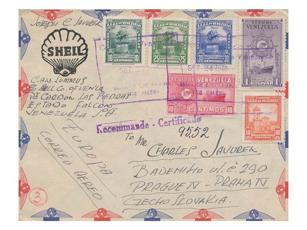 Venezuela, 1948, let. dopis zaslaný do ČSR, pestré