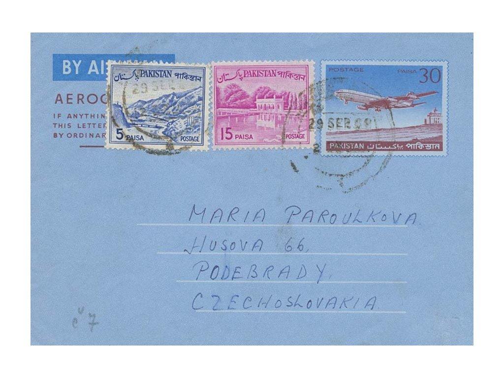 Pakistán, 1966, DR Lahore, aerogram, hezká frankatura