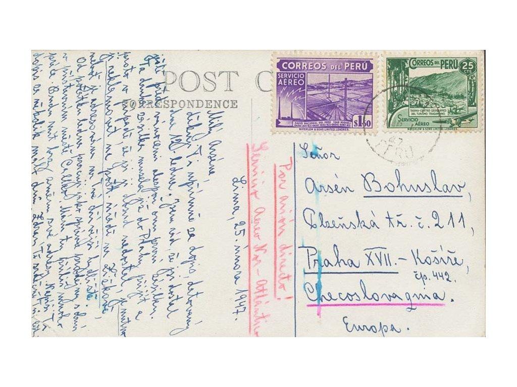 Peru, 1947, DR Lima, pohlednice zaslaná do Prahy, dv