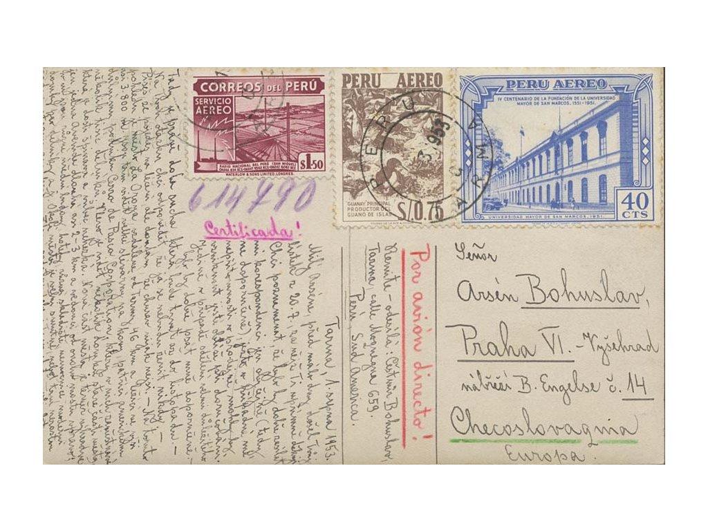 Peru, 1953, DR Tarma, pohlednice zaslaná do Prahy, dv