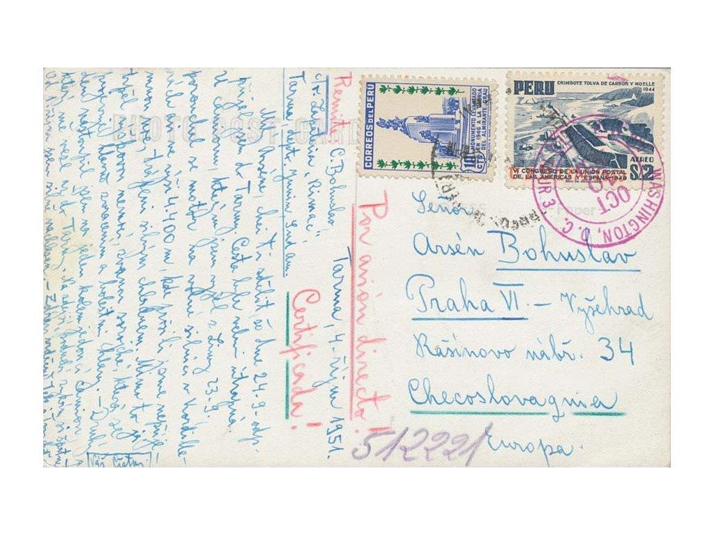 Peru, 1951, DR Tarma, pohlednice zaslaná do Prahy