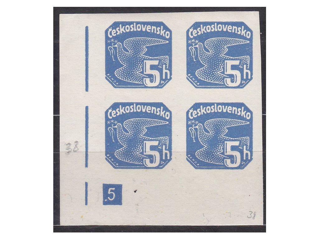 5h modrá, roh. 4blok s DČ 5 - přerušený rám, Nr.NV15, **