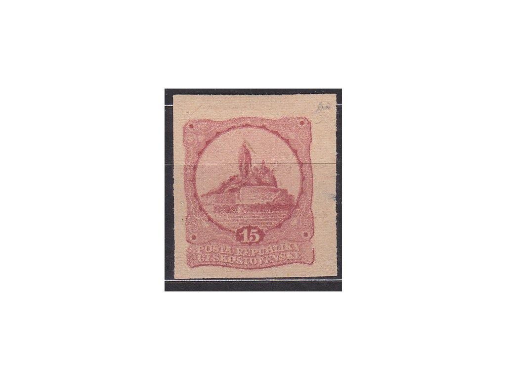 Návrh na kolek 15h červená, nezoubk. na známkovém papíru s lepem, * po nálepce, zeslabeno na okraji
