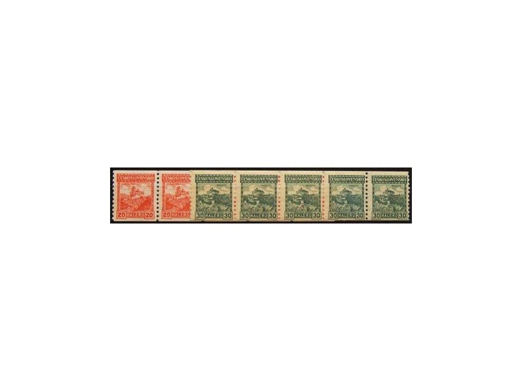 1926, 20 a 30h svitkové 5pásky, průsvitka 8 resp. 7, Nr.209A,210A