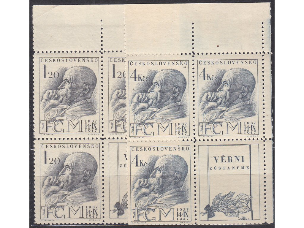 1947, 1.20-4Kčs TGM, pravé horní roh. 4bloky, Nr.458-59, **