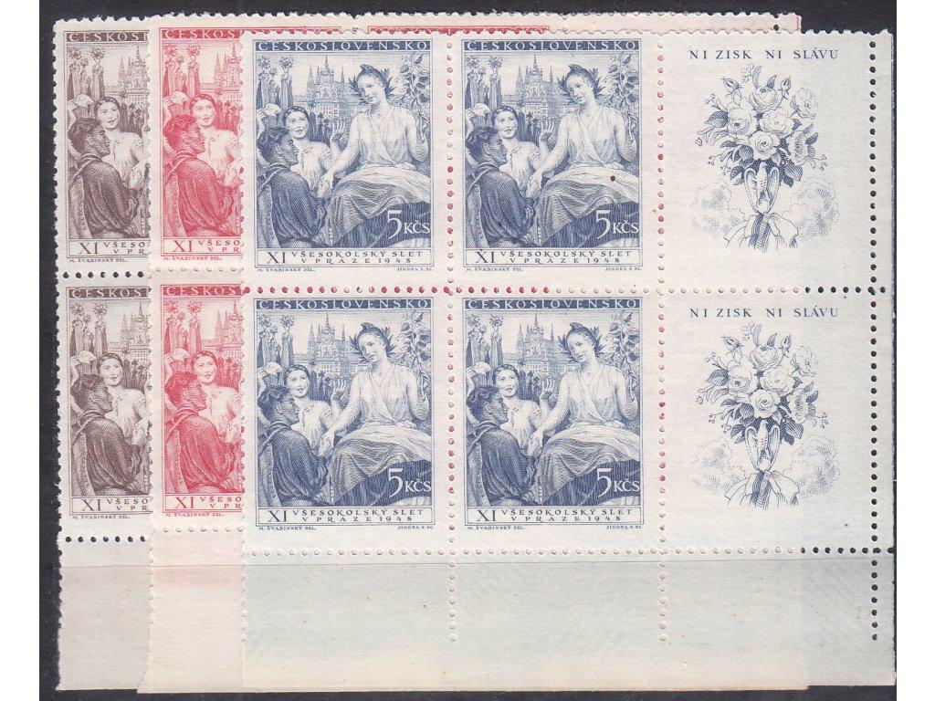 1948, 1.50-5Kčs Všesokolský slet, pravé dolní roh. 6bloky, Nr.467-69, **