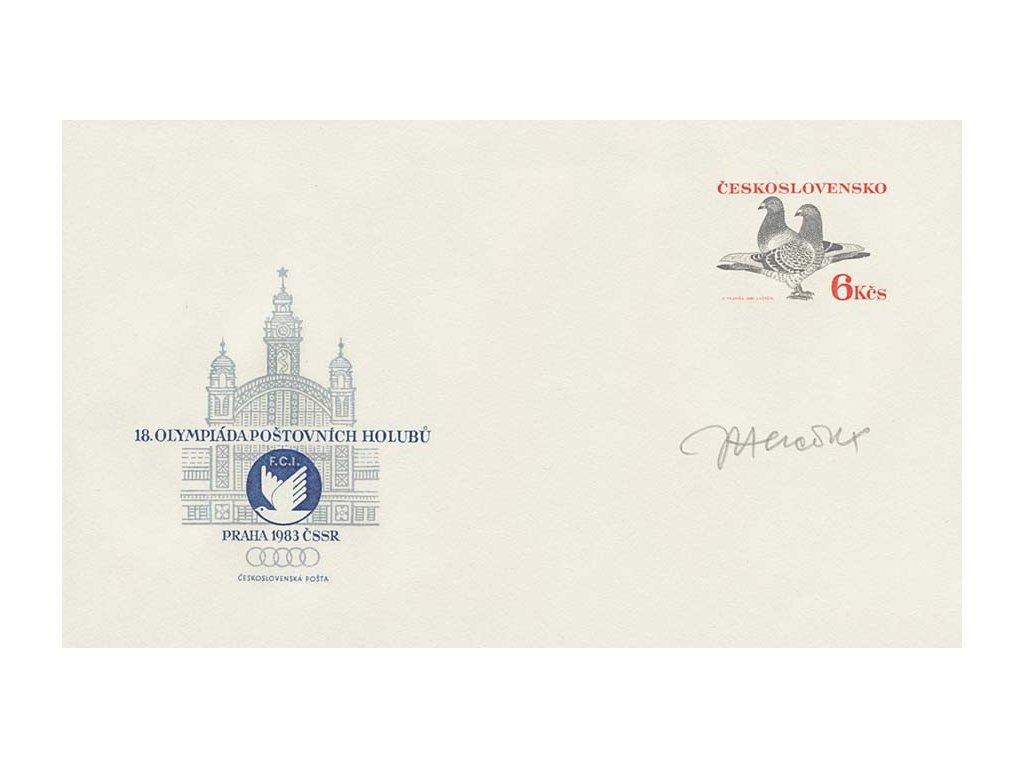 Herčík, podpis na celinové obálce z roku 1983