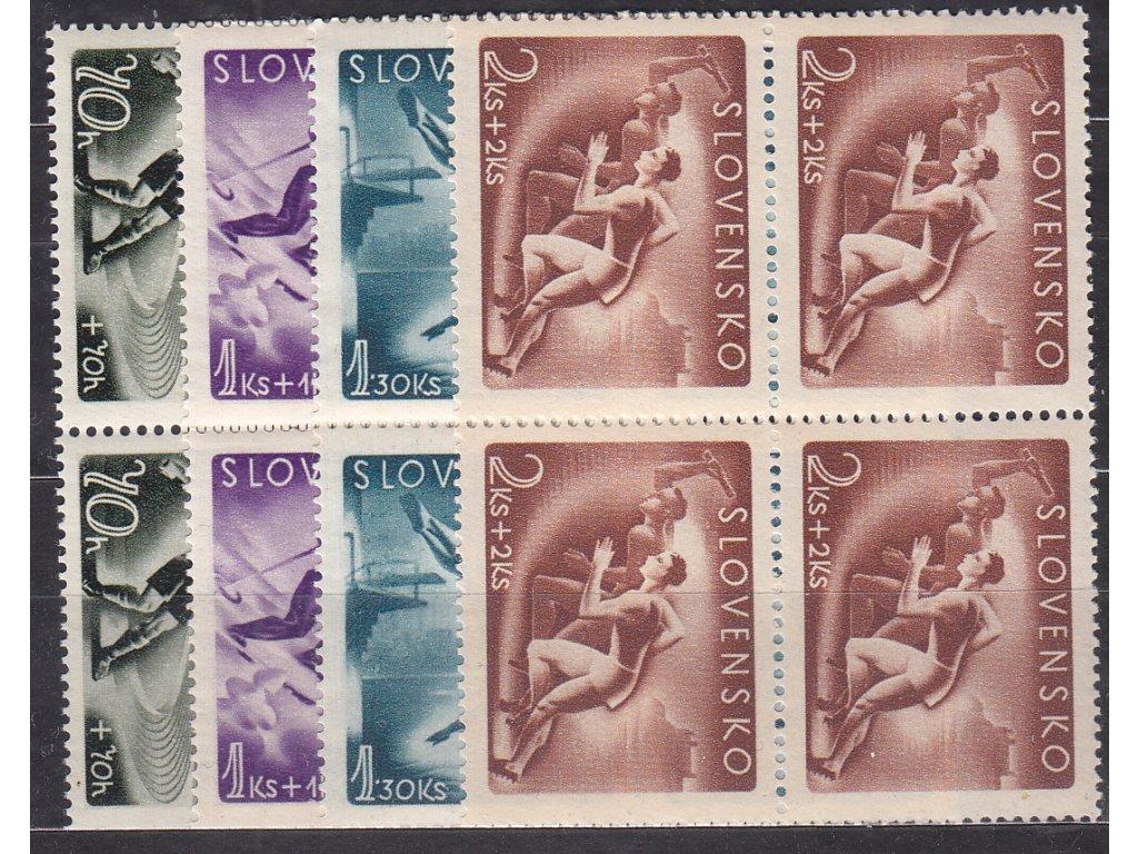 1944, 70h-2Ks Sport, série, 4bloky, Nr.111-114, **, ilustrační foto