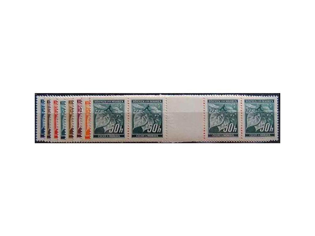1939, 5-50h Ratolest, 4 známkové meziarší, Nr.M20-27, **