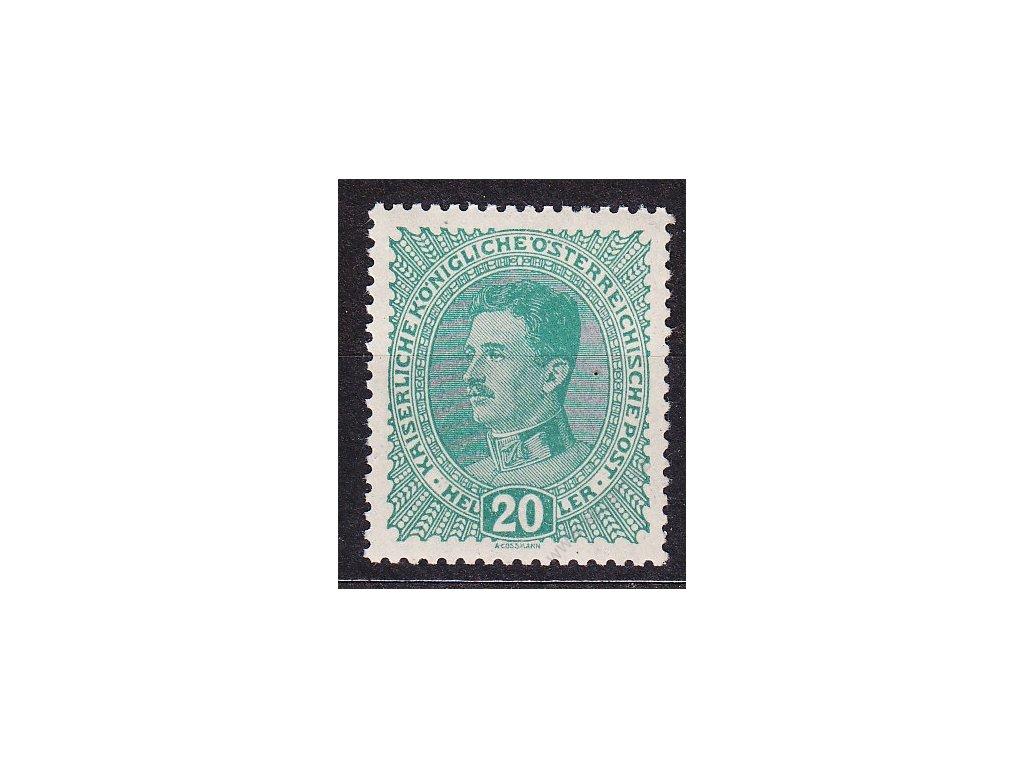20h Karel, světle zelená, zn. platná v ČSR, * po nálepce