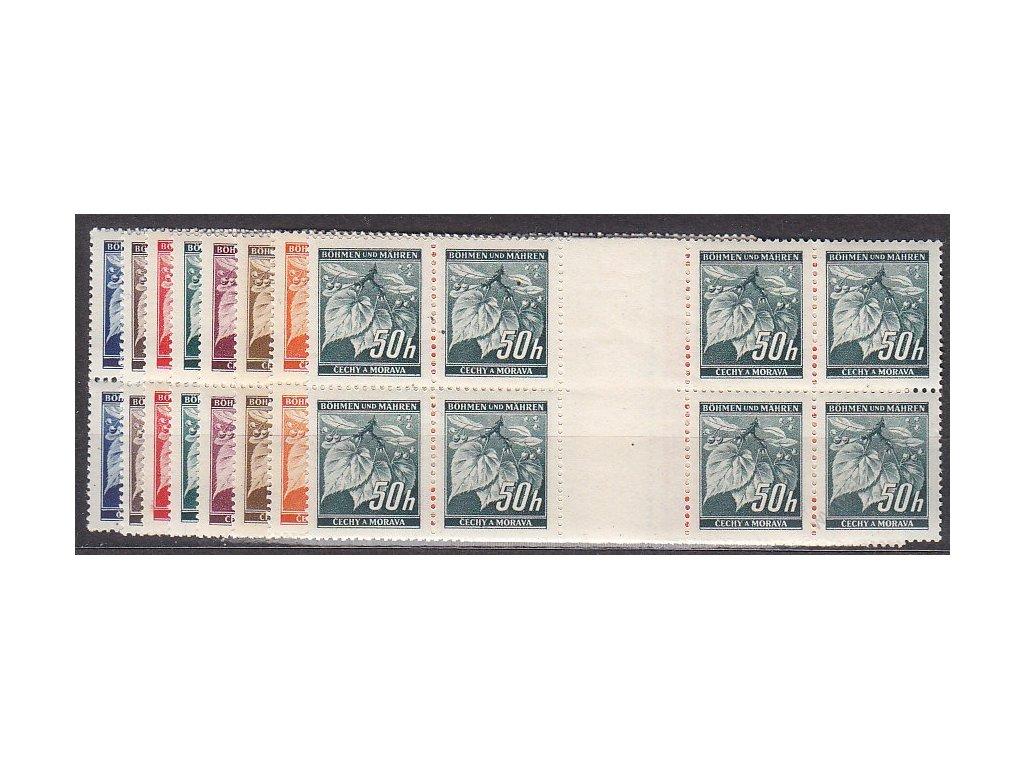 1939, 5-50h Ratolest, meziarší ve  4bloku, Nr.M20-27, **