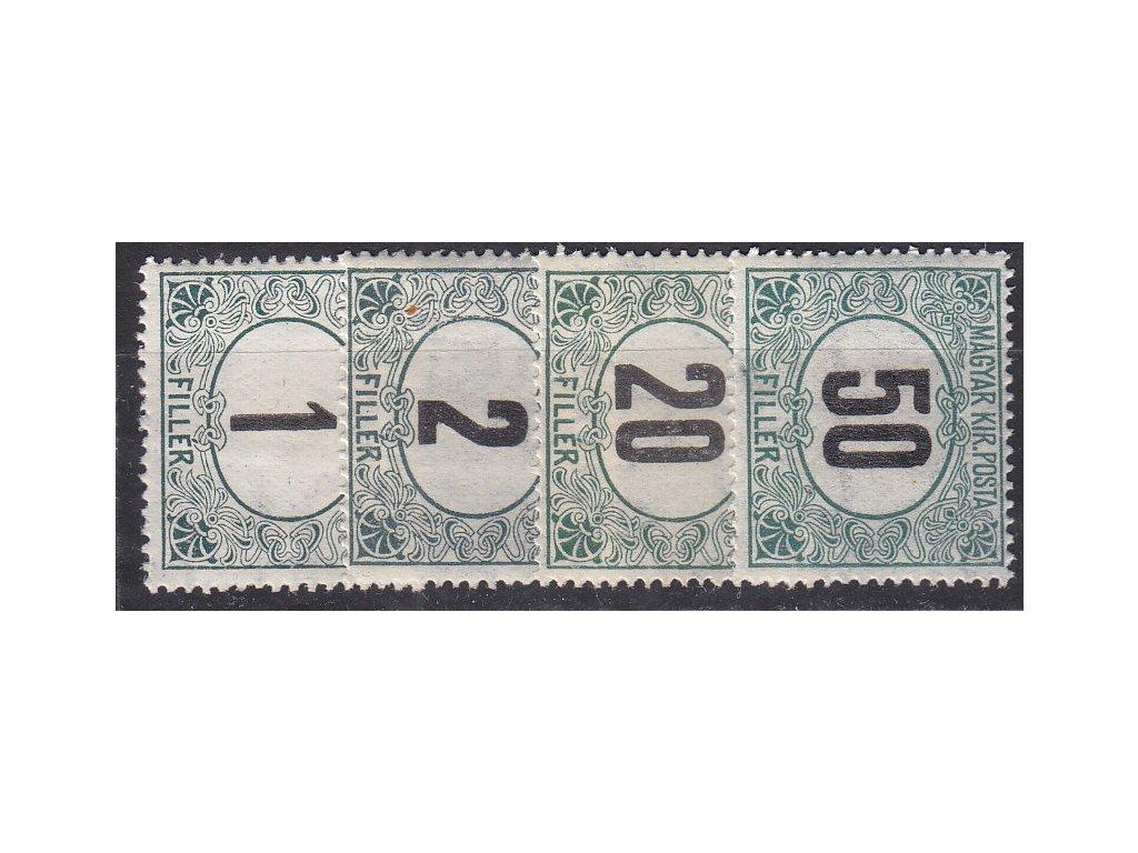 1-50f Doplatní - černá čísla, 4 hodnoty, zn. platné v ČSR, **/*