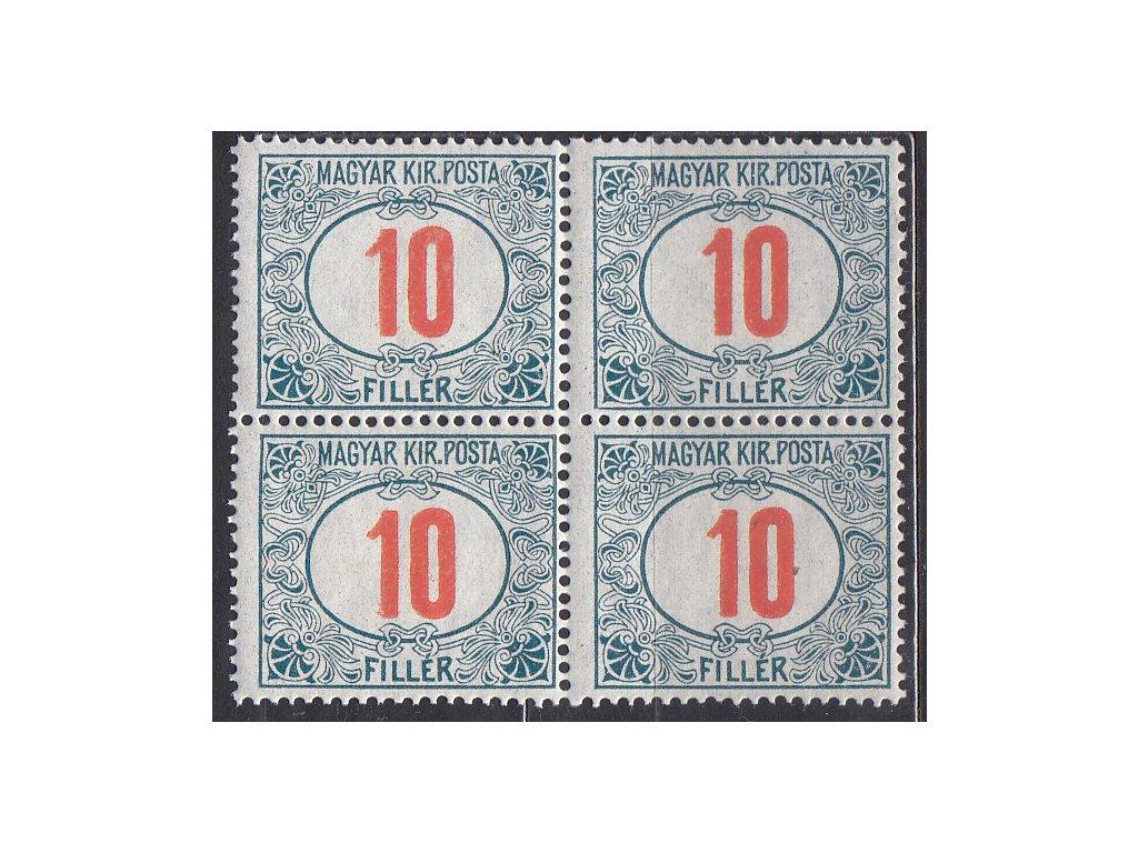 10f Doplatní - červené číslo, 4blok, zn. platná v ČSR, **