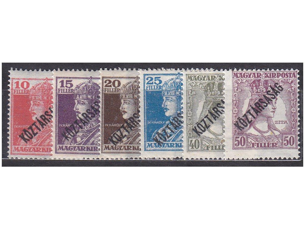 10-50f Karel a Zita, přetisk Köztársaság, známky platné v ČSR, **