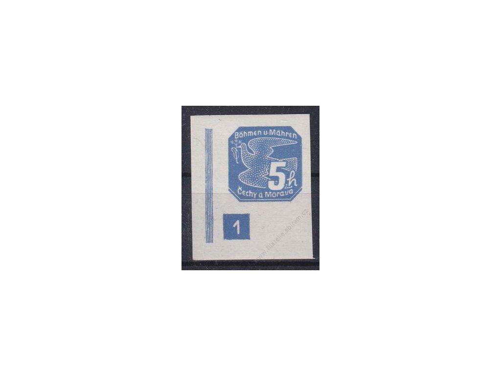 5h modrá, levý roh. kus s DČ 1, široký rám, Nr.NV2