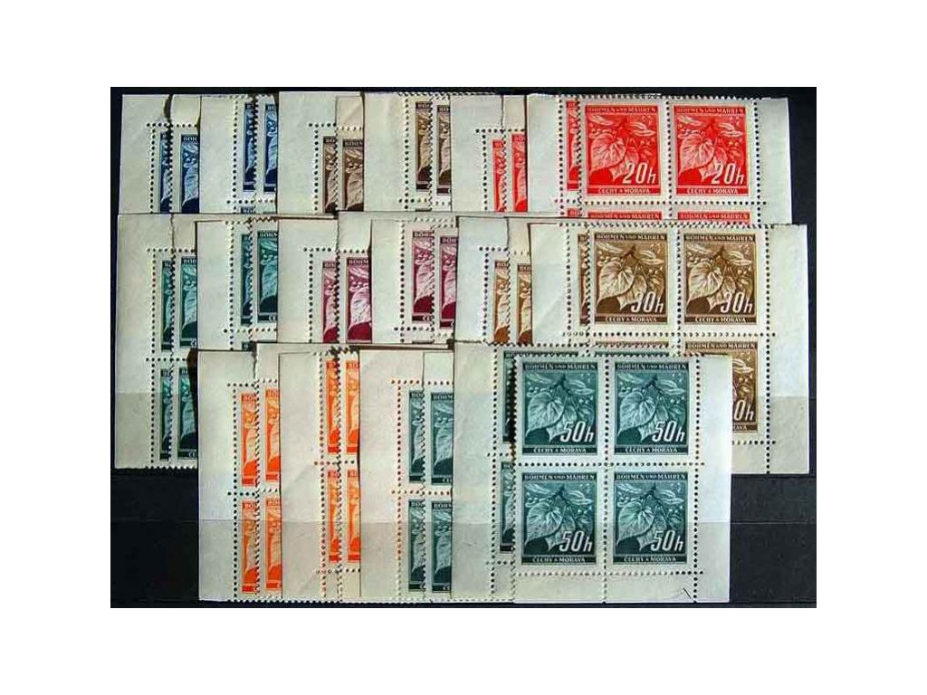 1939, 5-50h Lipové listy, rohová miniatura, Nr.20-7, **