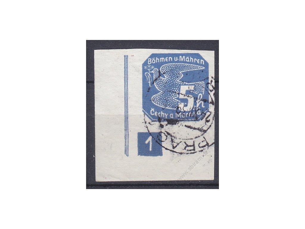 5h modrá, roh. kus s DČ 1 - úzký rám, Nr.NV2, (Pof.1500,-), razítkované, hezký kus
