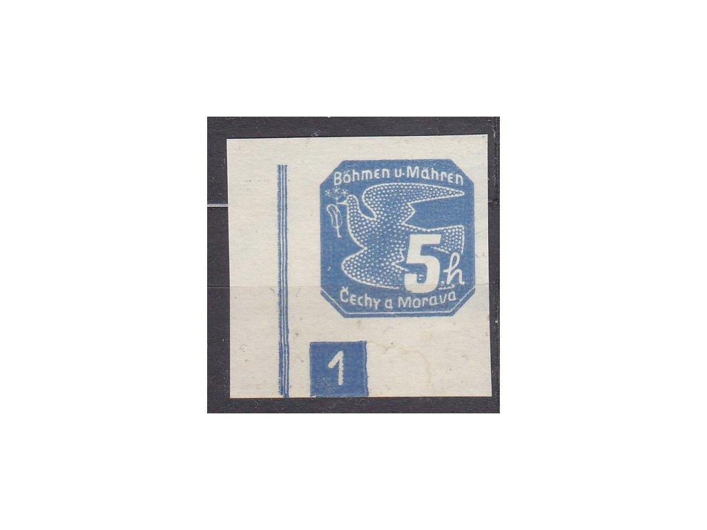 5h modrá, roh. kus s DČ 1 - úzký rám, Nr.NV2, * po nálepce, vzácné DČ