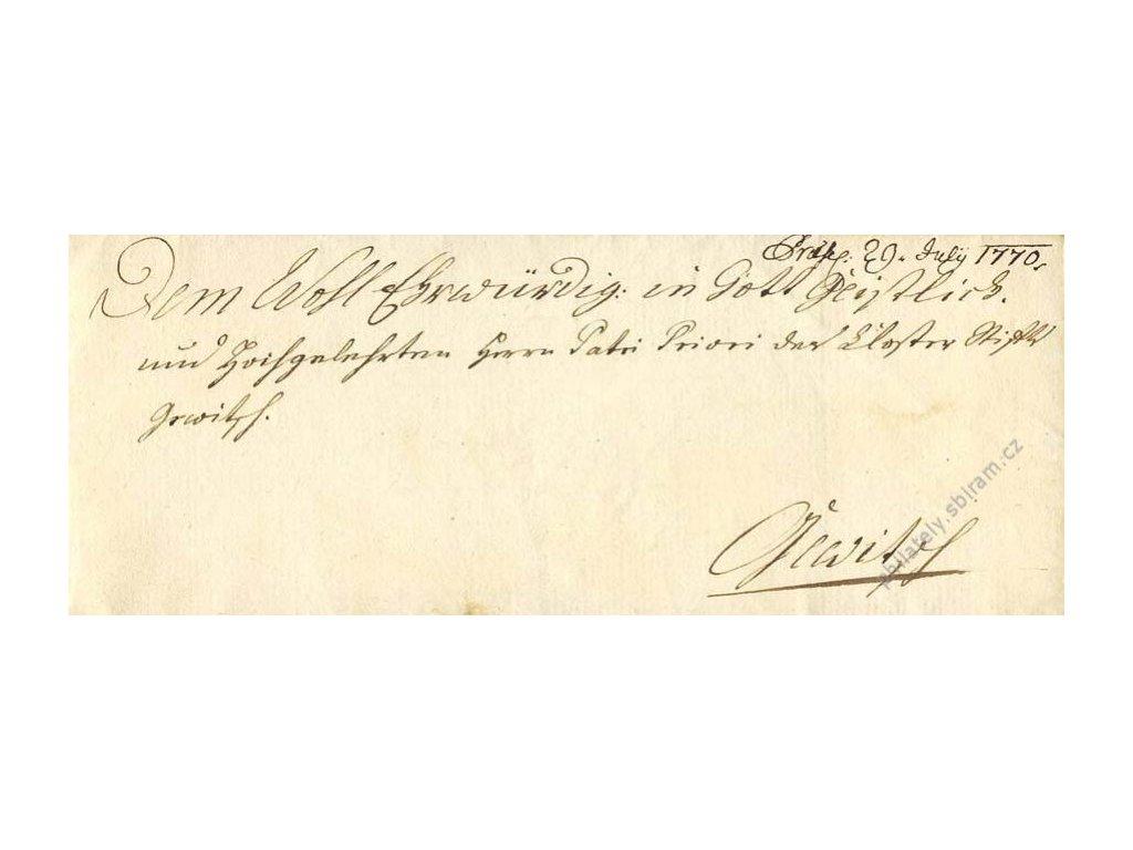 Šlechtický dopis z roku 1770 se suchou pečetí