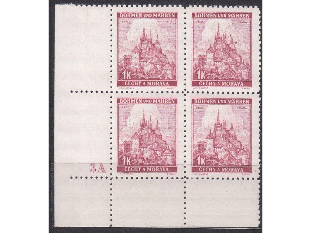 1939, 1K Praha, roh. 4blok s DČ 3A - široký okraj, Nr.31, **
