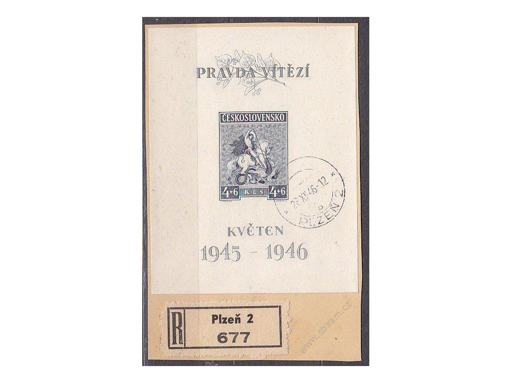 1946, 4+6Kčs Květen, typ II, výstřižek, razítko PLZEŇ, Nr.A435