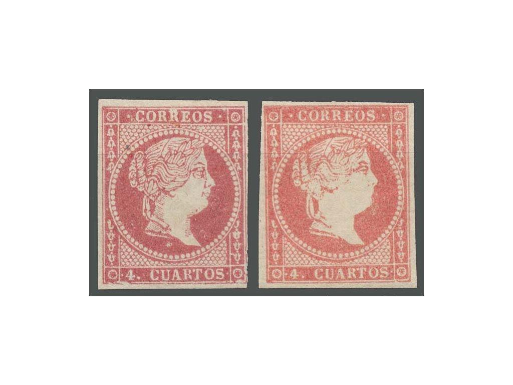 1856, 4 Cs Isabella, 2 kusy - odstíny, MiNr.40a,b, **/*