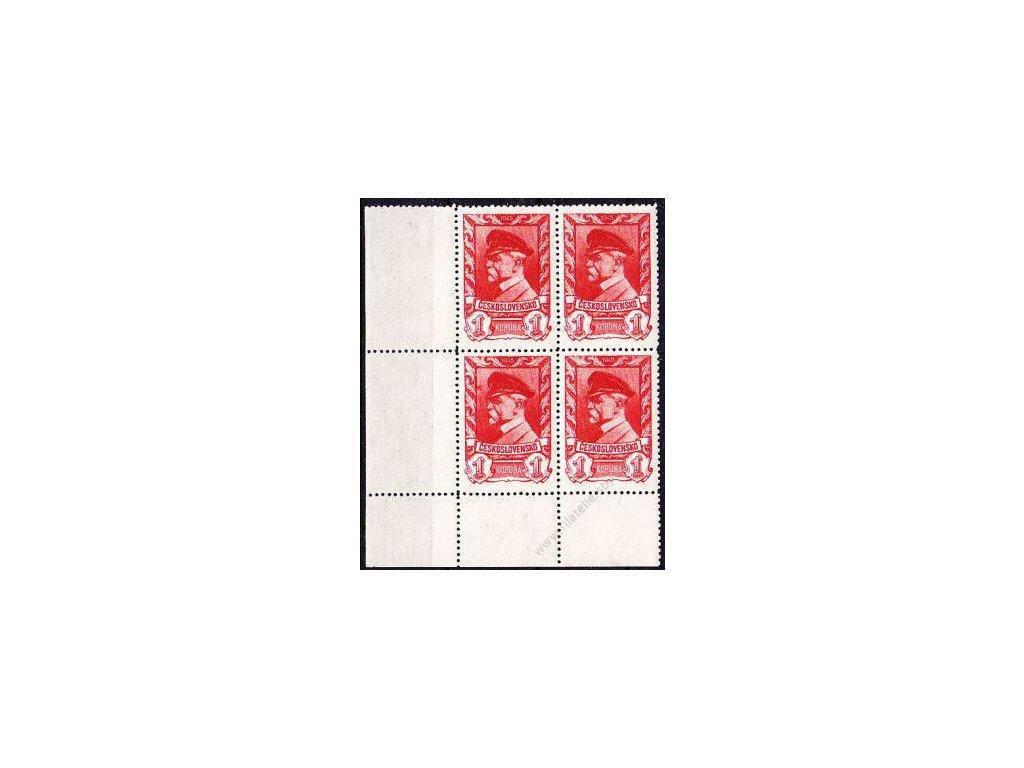 1K Moskevské, levý dolní roh 4blok s DV - skvrna před štítkem čepice, Nr.385, **