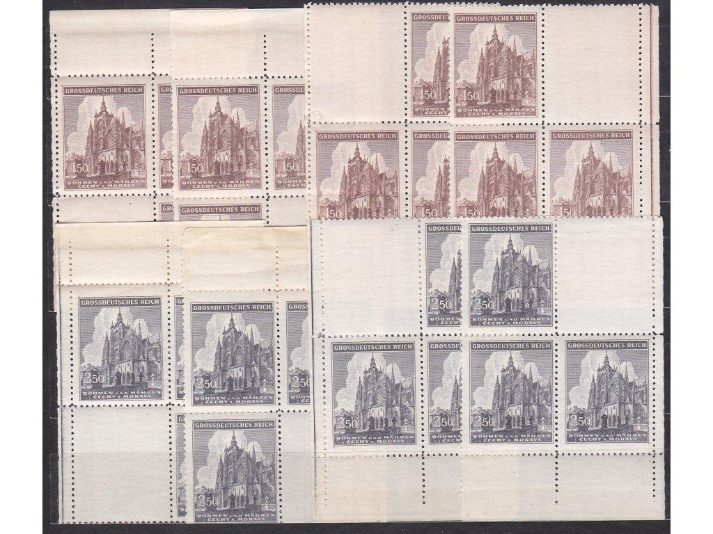 1944, 1.50-2.50K sv. Vít, roh. miniatura ve 4bloku, Nr.120-1, **