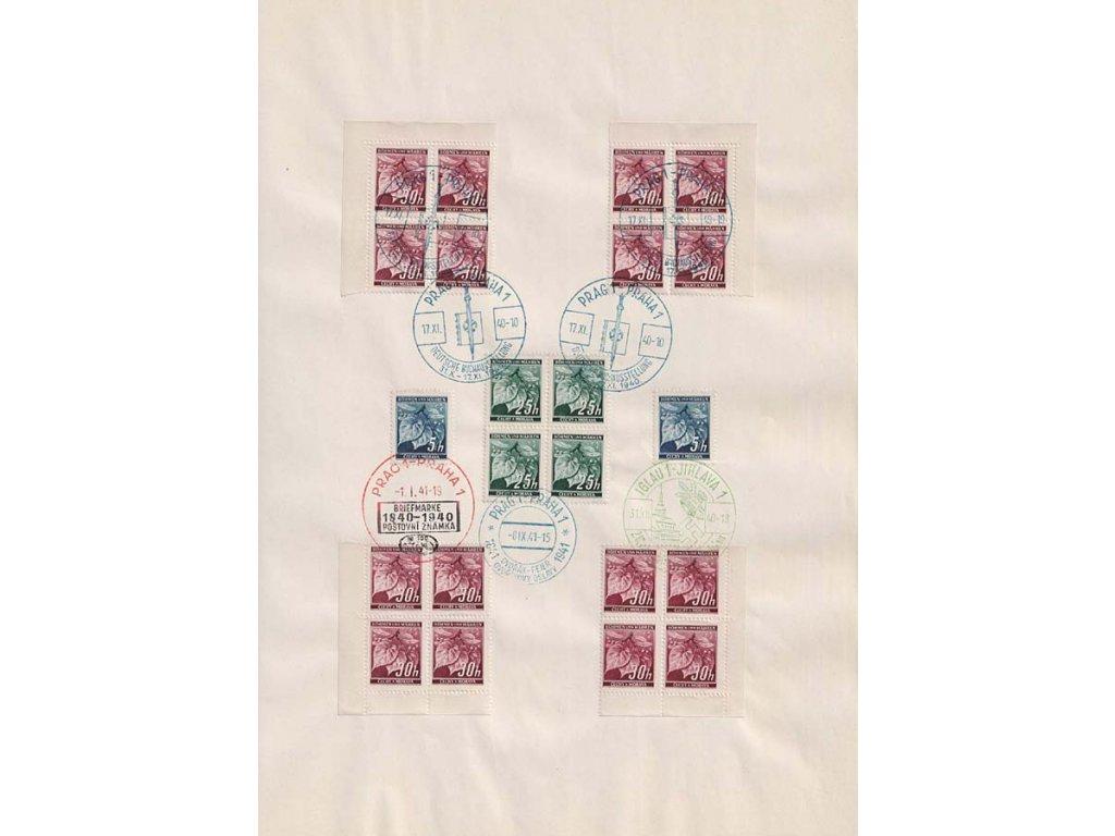 1940/41, pamětní list se 7 razítky, formát A4