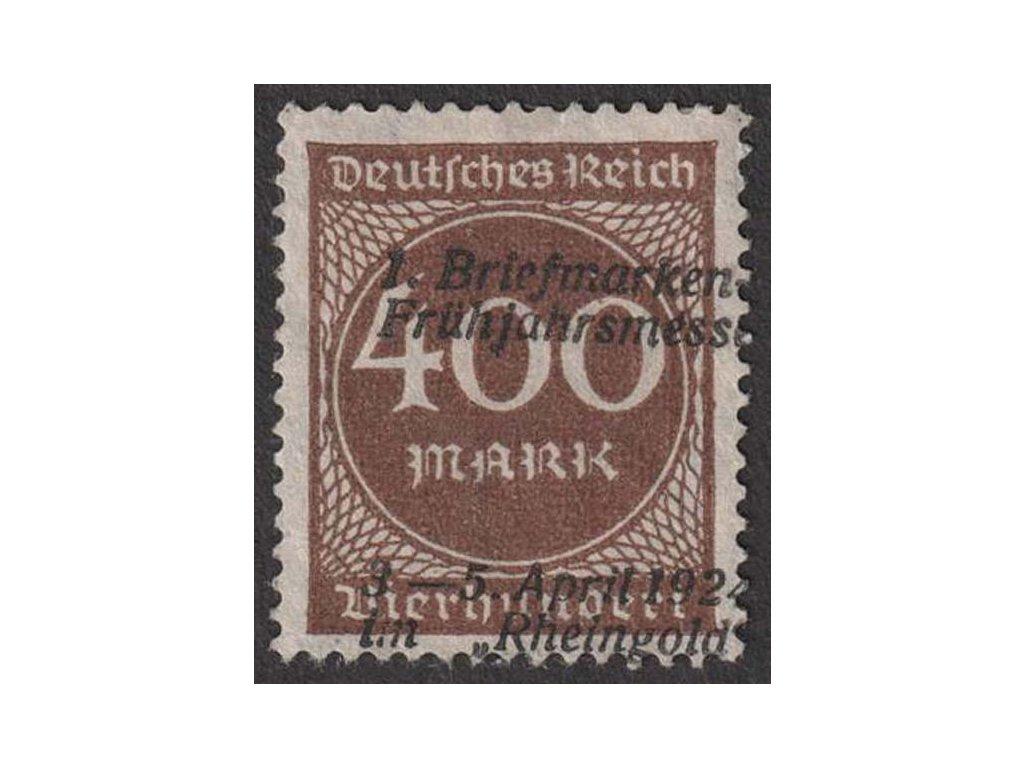 1924, 400 M přetisk 1. Briefmarken-Frühjarsmesse 1924, (*)