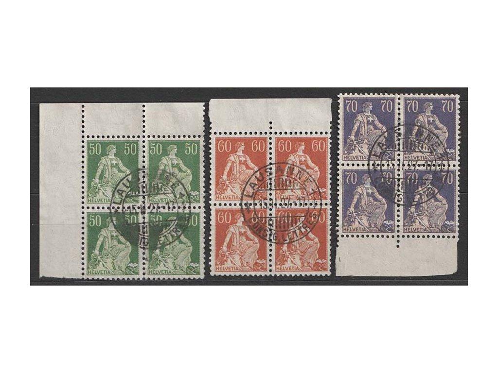 1908/21, 50C, 60C a 70C Helvetie, 4bloky, MiNr.107,141,171