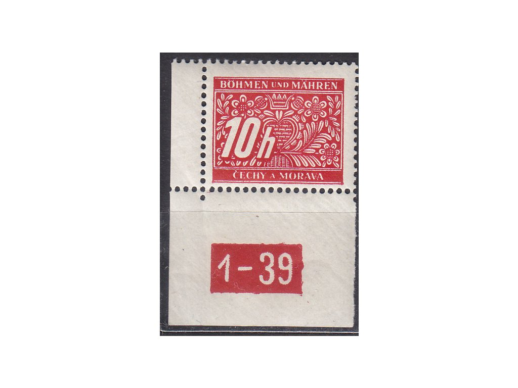 10h červená, levý roh. kus s DČ 1-39, varianta X, Nr.DL2, **