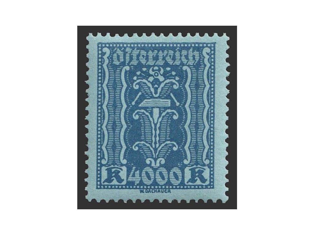 1922, 4000 Kr modrá, MiNr.397, * po nálepce