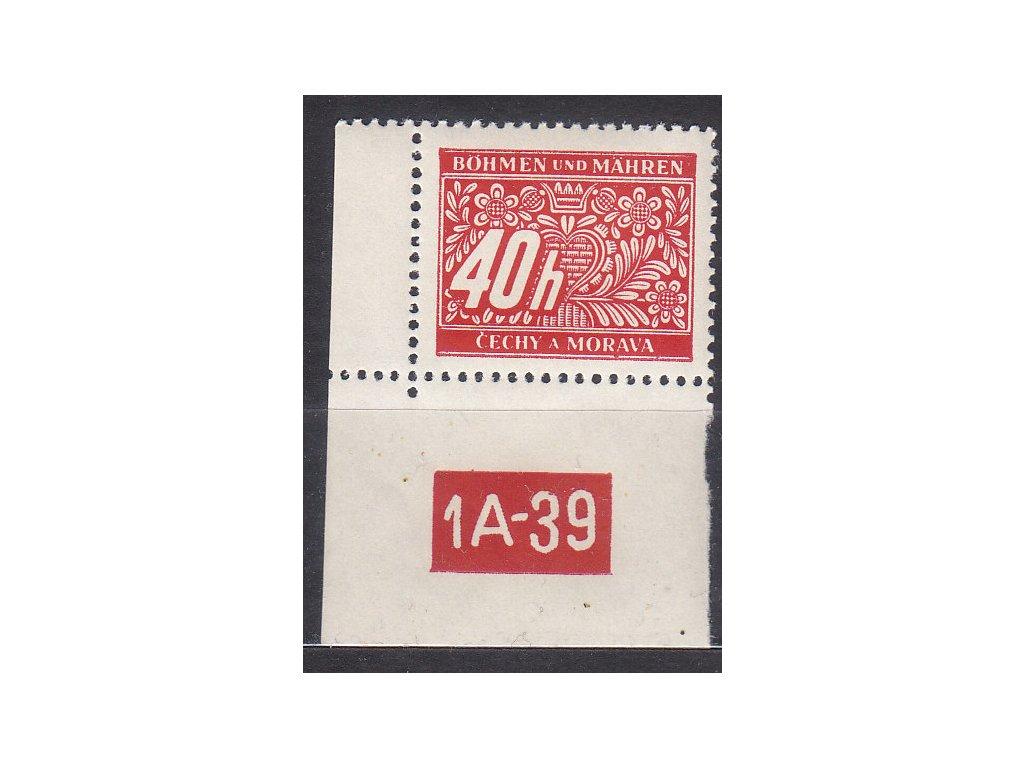 40h červená, levý roh. kus s DČ1A-39, varianta X, Nr.DL5, **