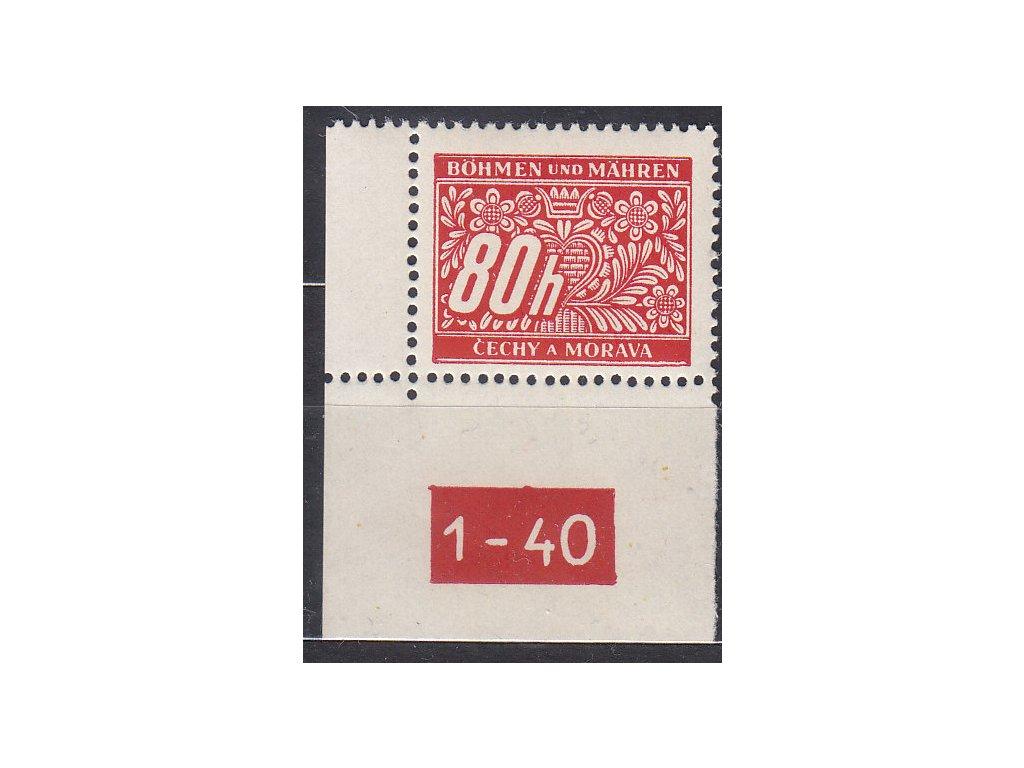 80h červená, levý roh. kus s DČ 1-40, varianta X, Nr.DL8, **