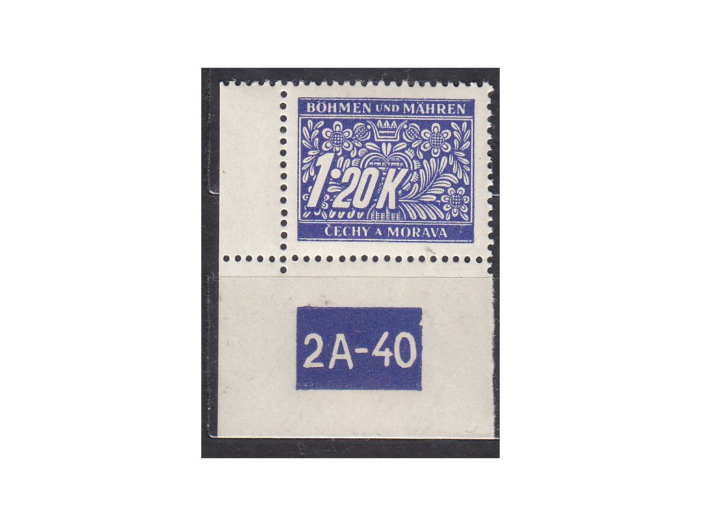 1.20K modrá, levý roh. kus s DČ 2A-40, varianta X, Nr.DL10, **