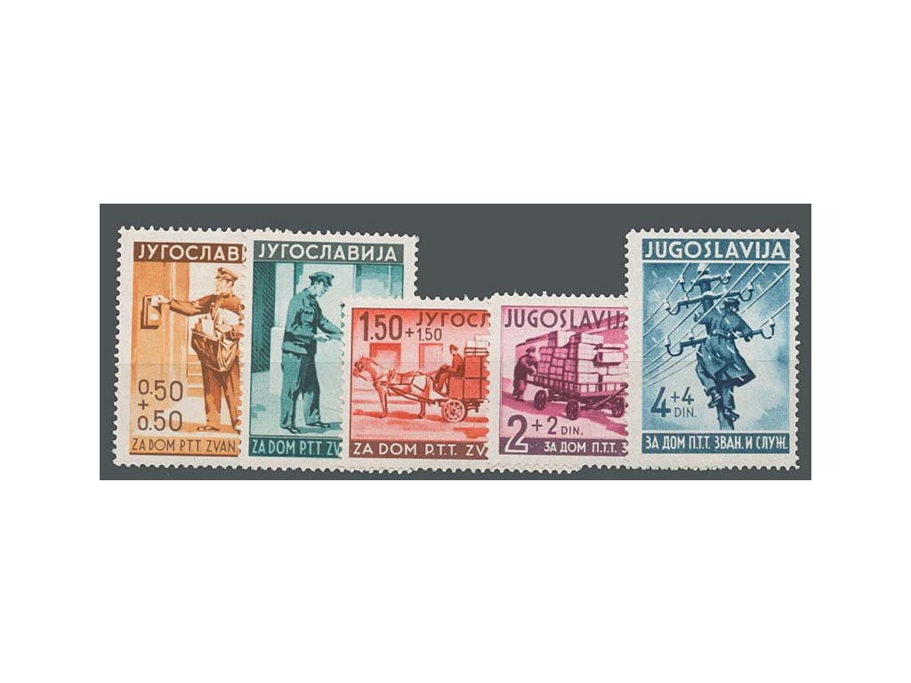 1940, 0.50-4 Din série Pošta, MiNr.408-12, **/*