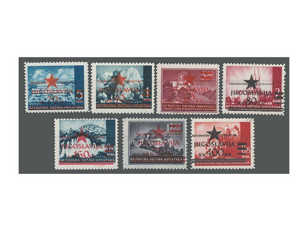 1945, Kroatien, 20K/5K-400K/0.25K série, MiNr.1-7, **