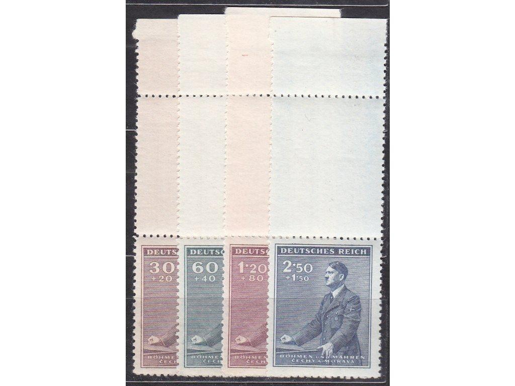 30h-2.50K Hitler, horní kupony s okrajem, Nr.74-7, **