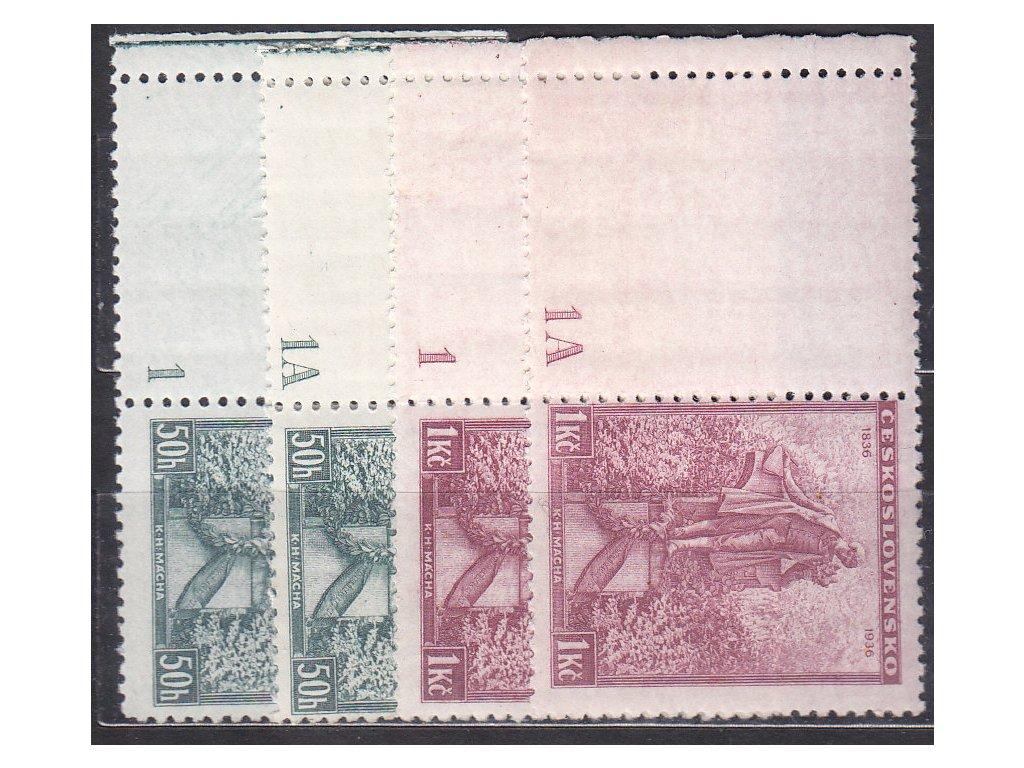 1936, 50h-1Kč Mácha, 4 kupony a DČ 1,1A, Nr.298-9, **